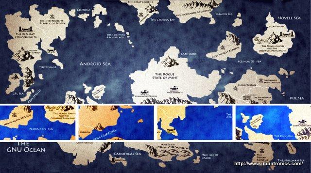 Mapa de la fantastica tierra de linux