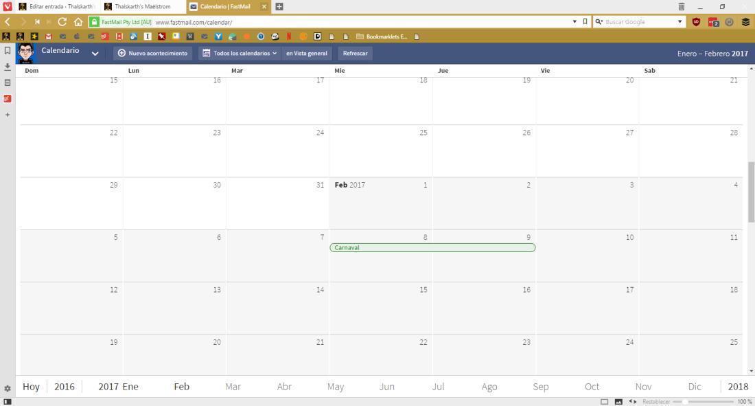 Vista de calendario de Fastmail